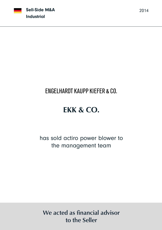 EKK | has sold actiro power blower to the management team
