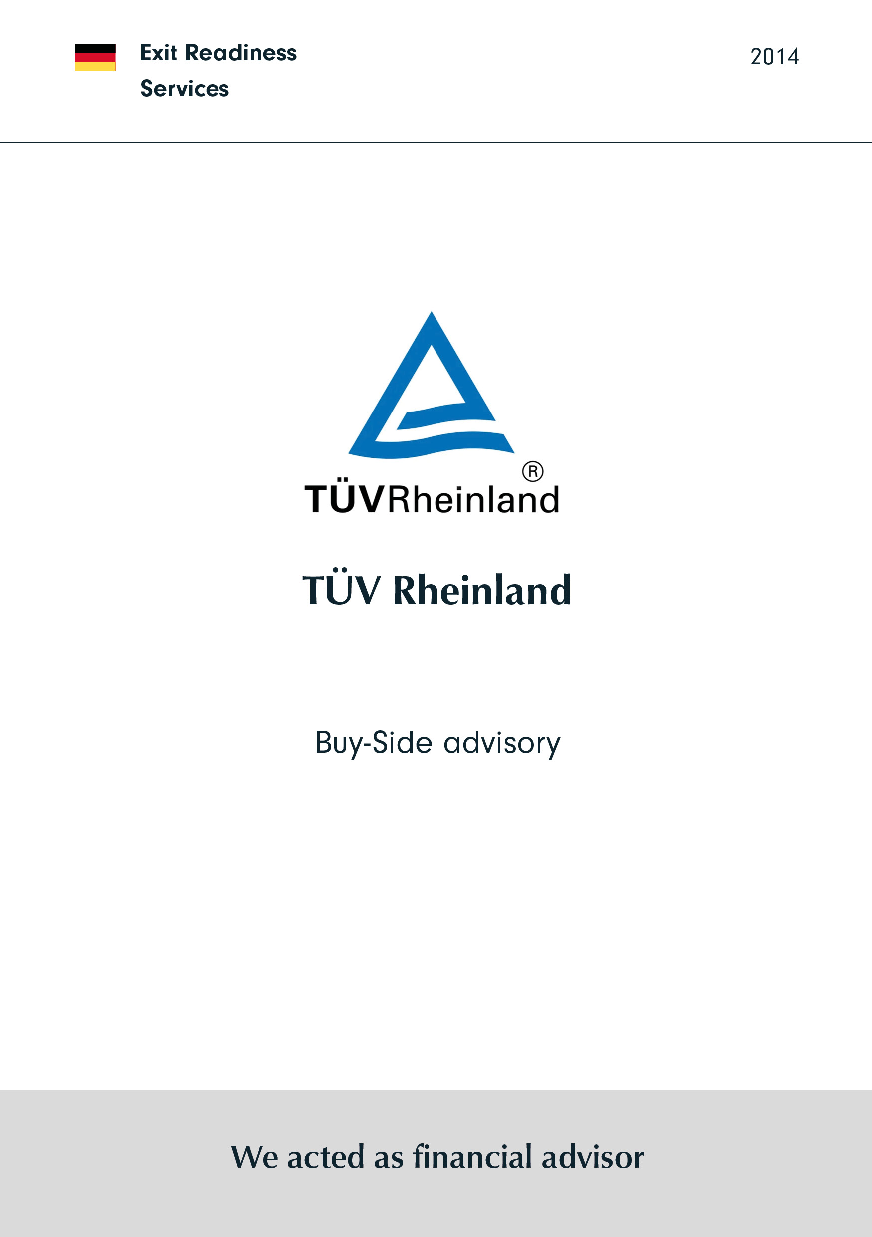 TÜV Nordrhein | Buy-Side advisory
