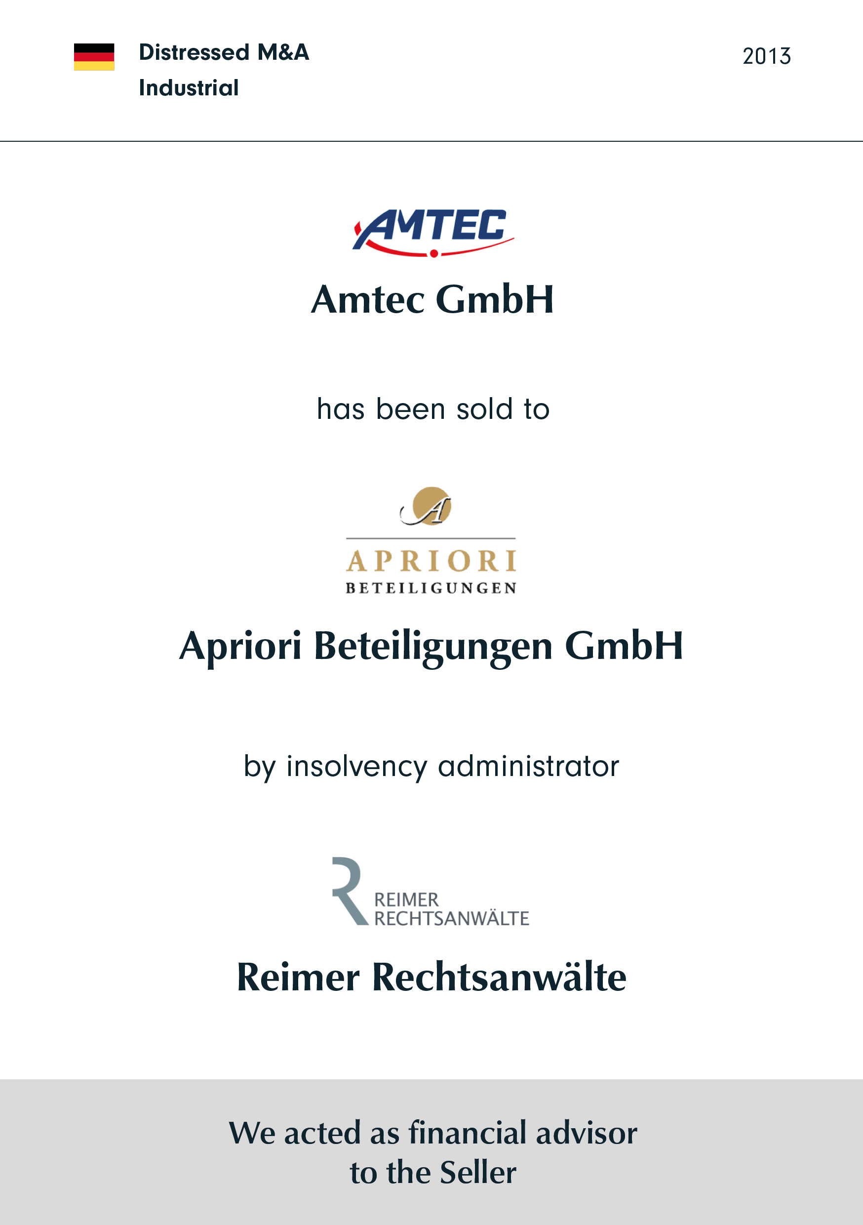 AMTEC has been sold to APRIORI by insolvency administrator Reimer Rechtsanwälte