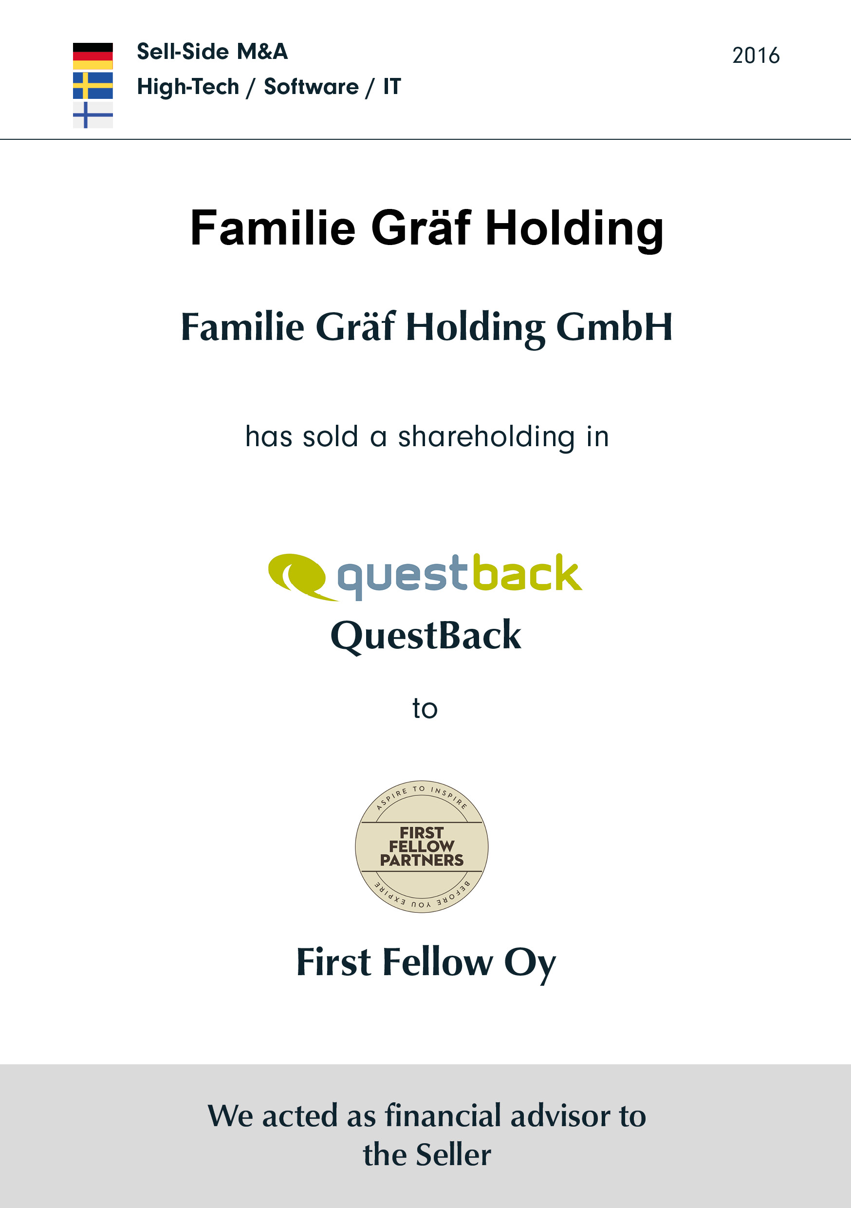 Familie Gräf Holding has sold a shareholding in Questback to FIRST FELLOW OY