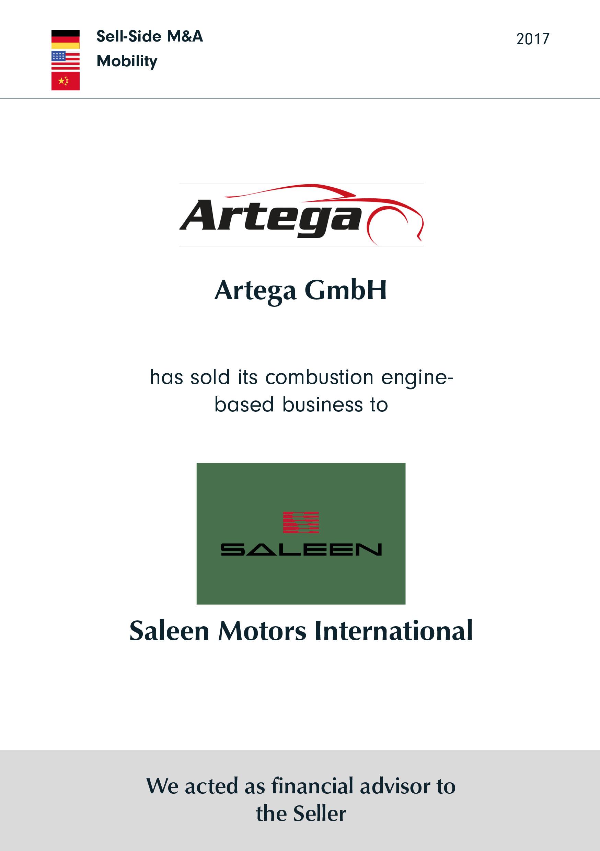 Artega   has sold its combustion engine-based business to   Saleen Motors