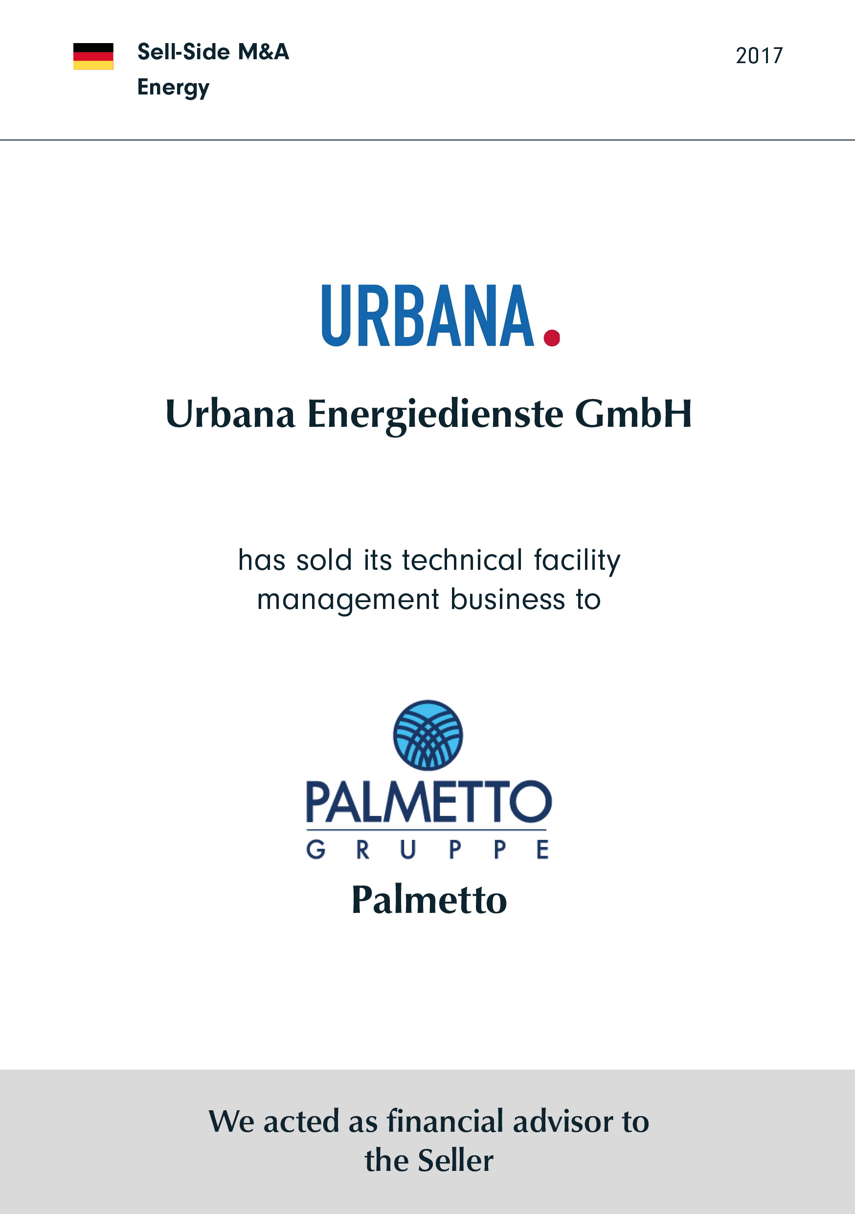 URBANA has sold its technical facility management business to Palmetto