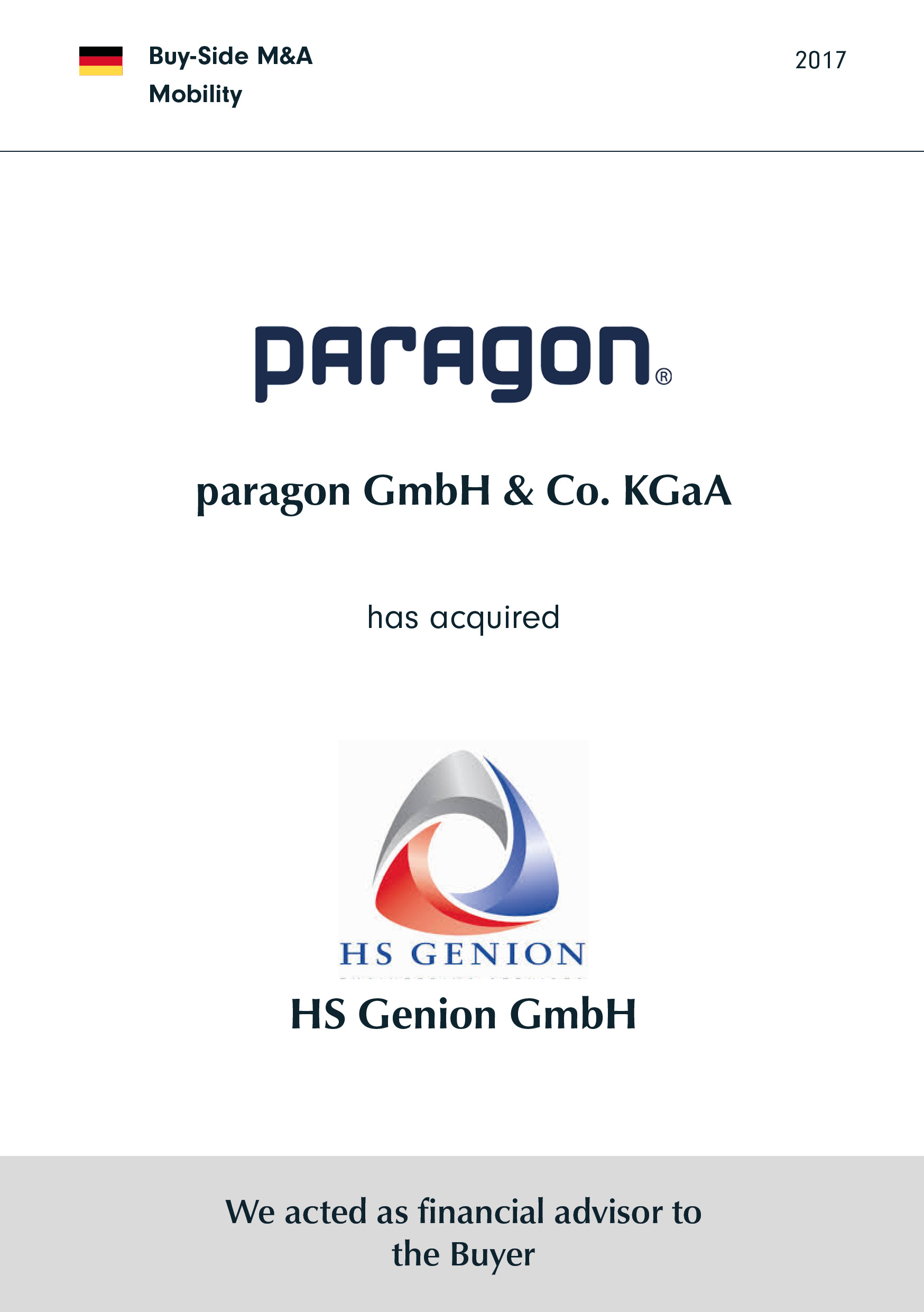 paragon | has acquired | HS Genion