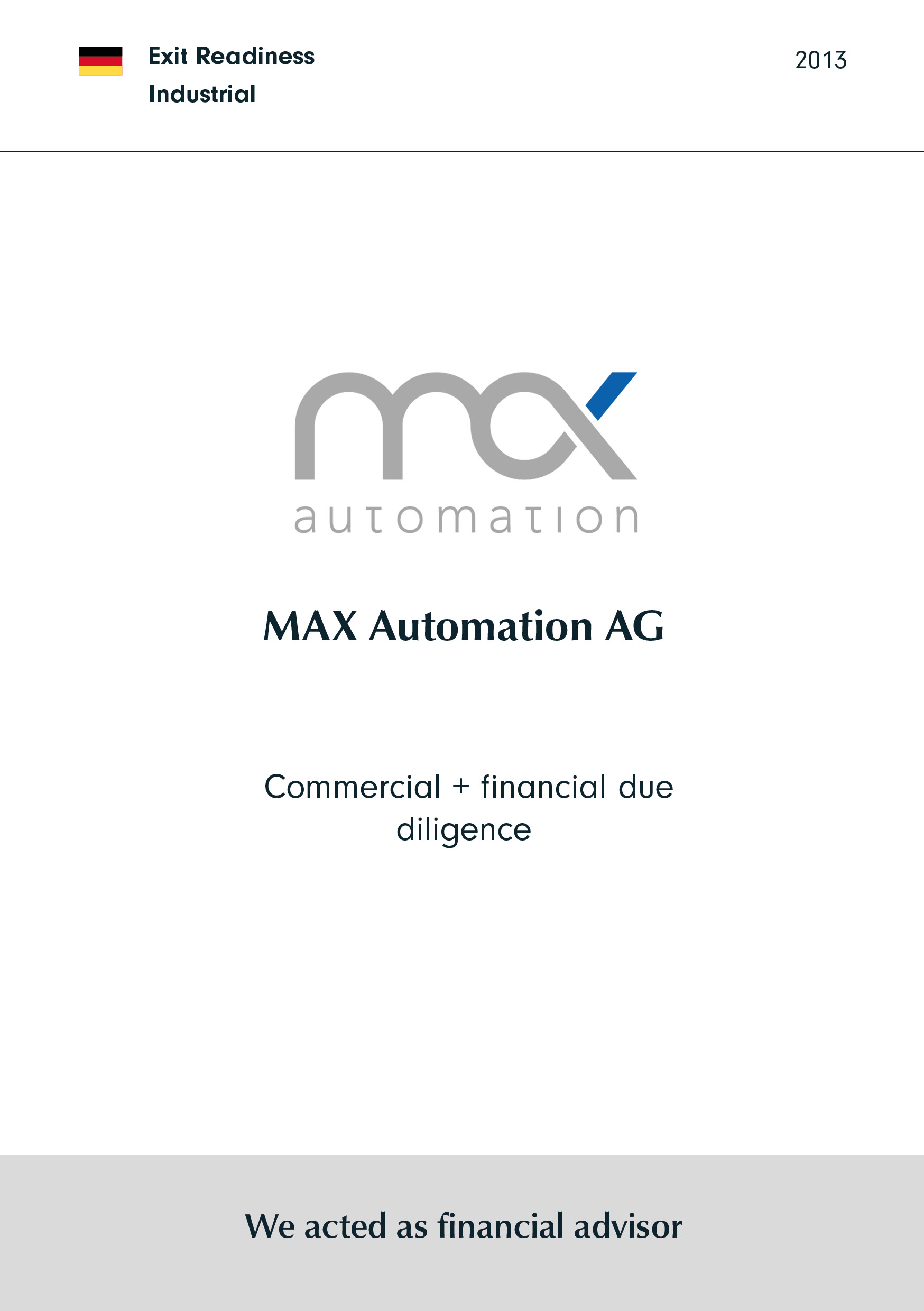 MAX Automation | Commercial + financial due diligence