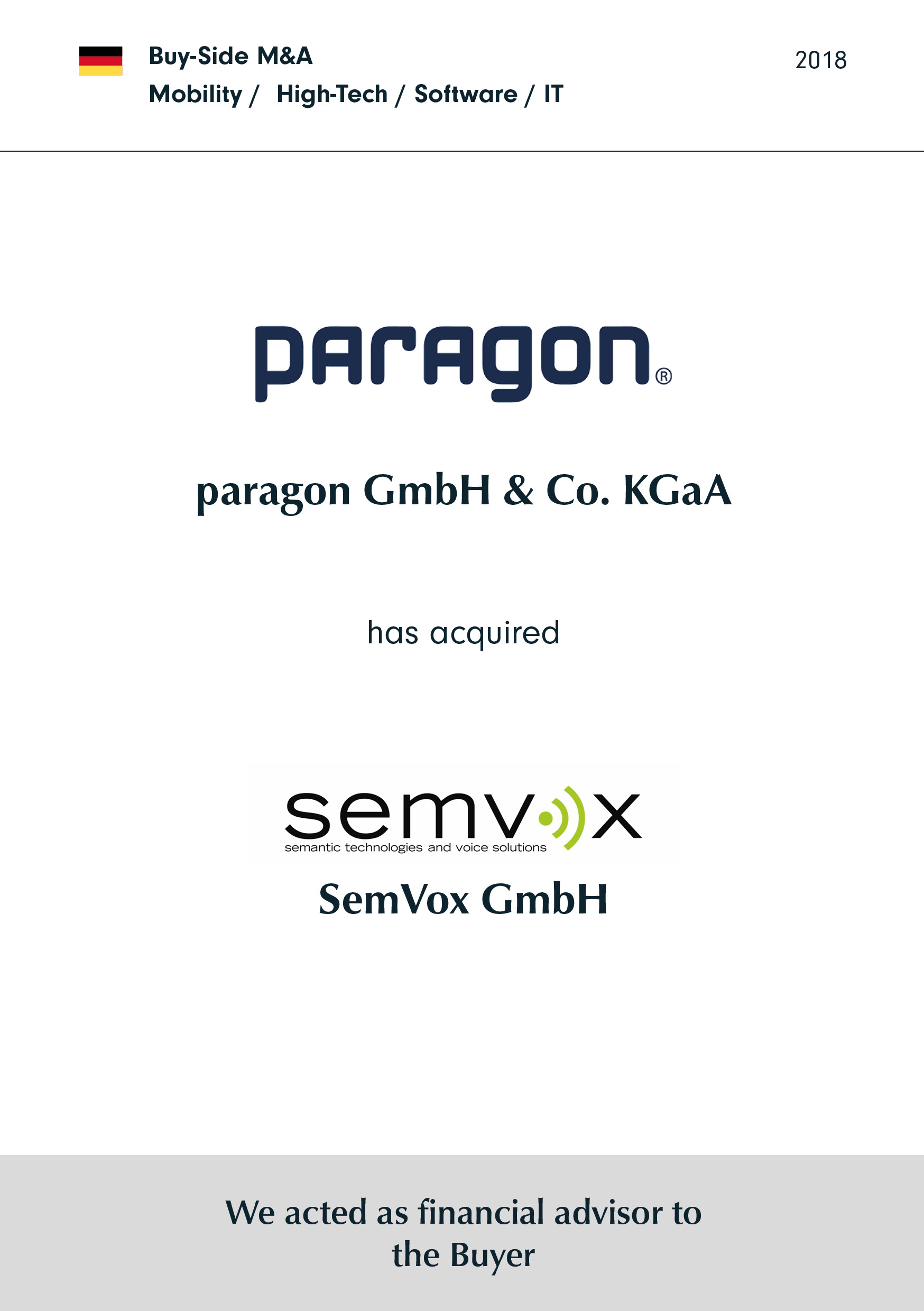 paragon | has acquired | SemVox