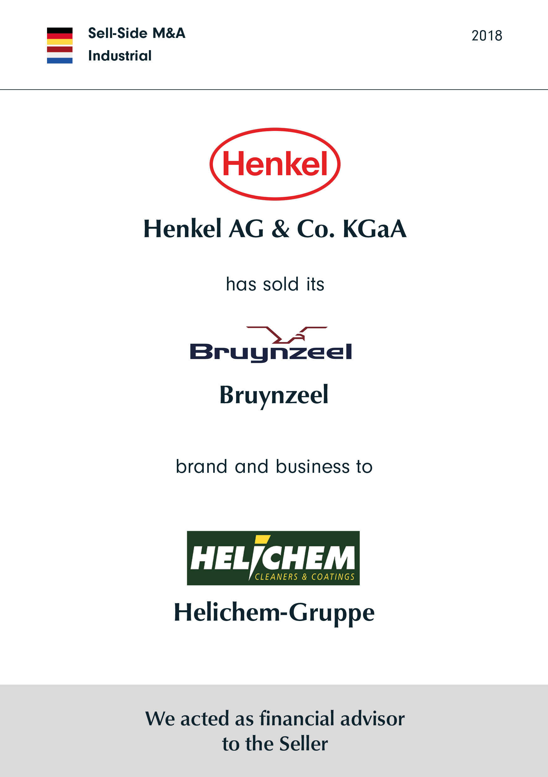 Henkel | has sold its | Bruynzeel | brand and business to | Helichem