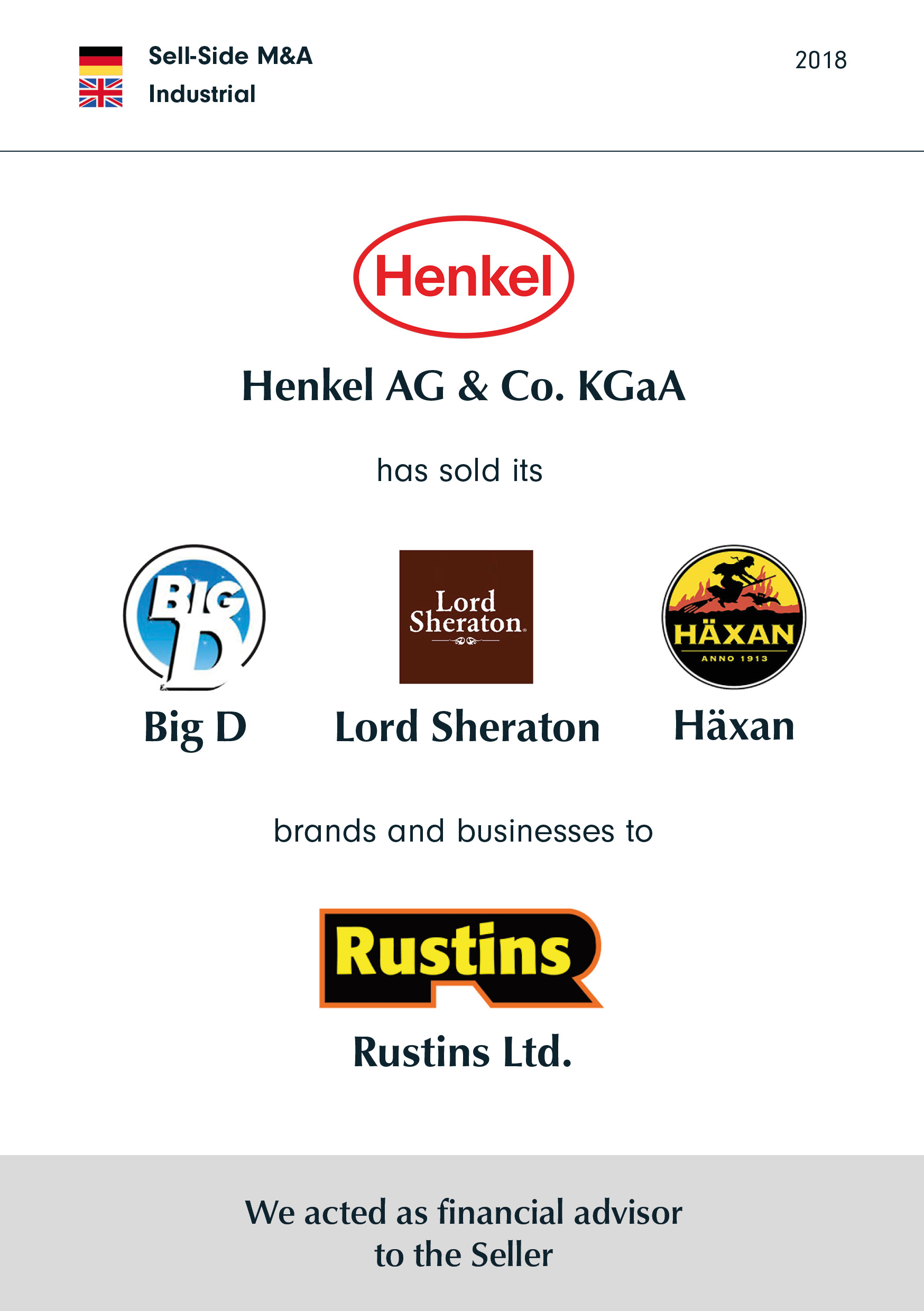 Henkel | has sold its | Lord Sheraton/Big D/Häxan | brands and businesses to | Rustins
