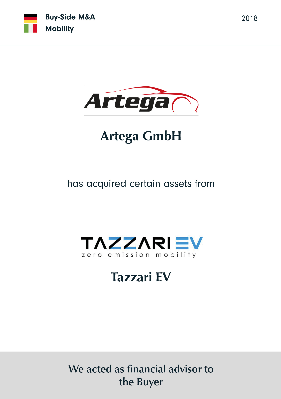Artega | has acquired certain assets from | Tazzari EV