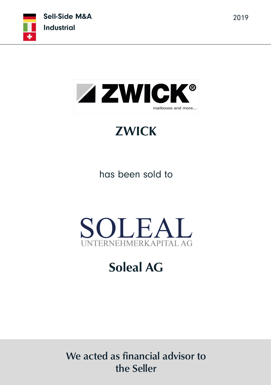 ZWICK | has been sold to | Soleal