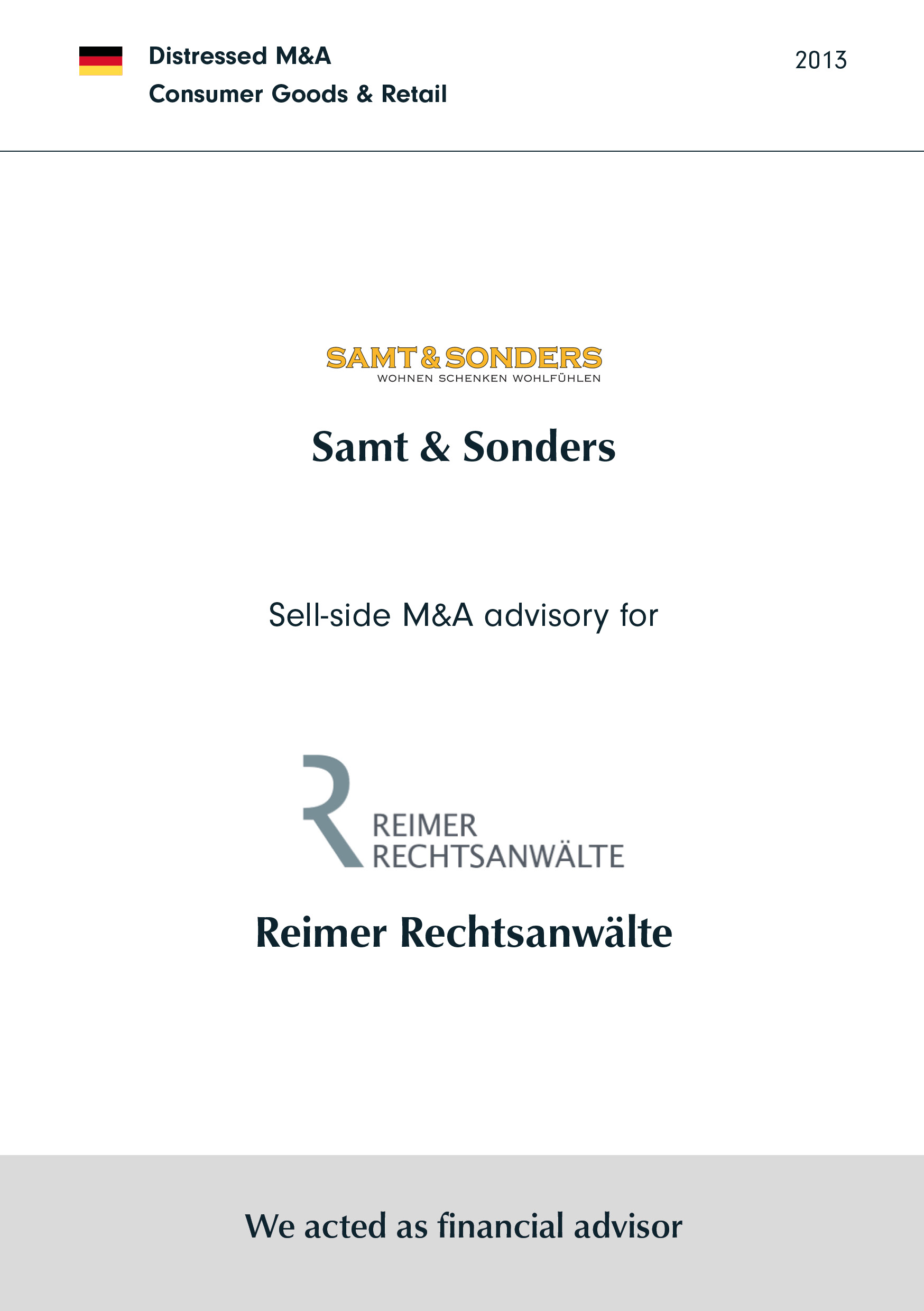 Samt & Sonders | Sell-side M&A advisory for Reimer Rechtsanwälte