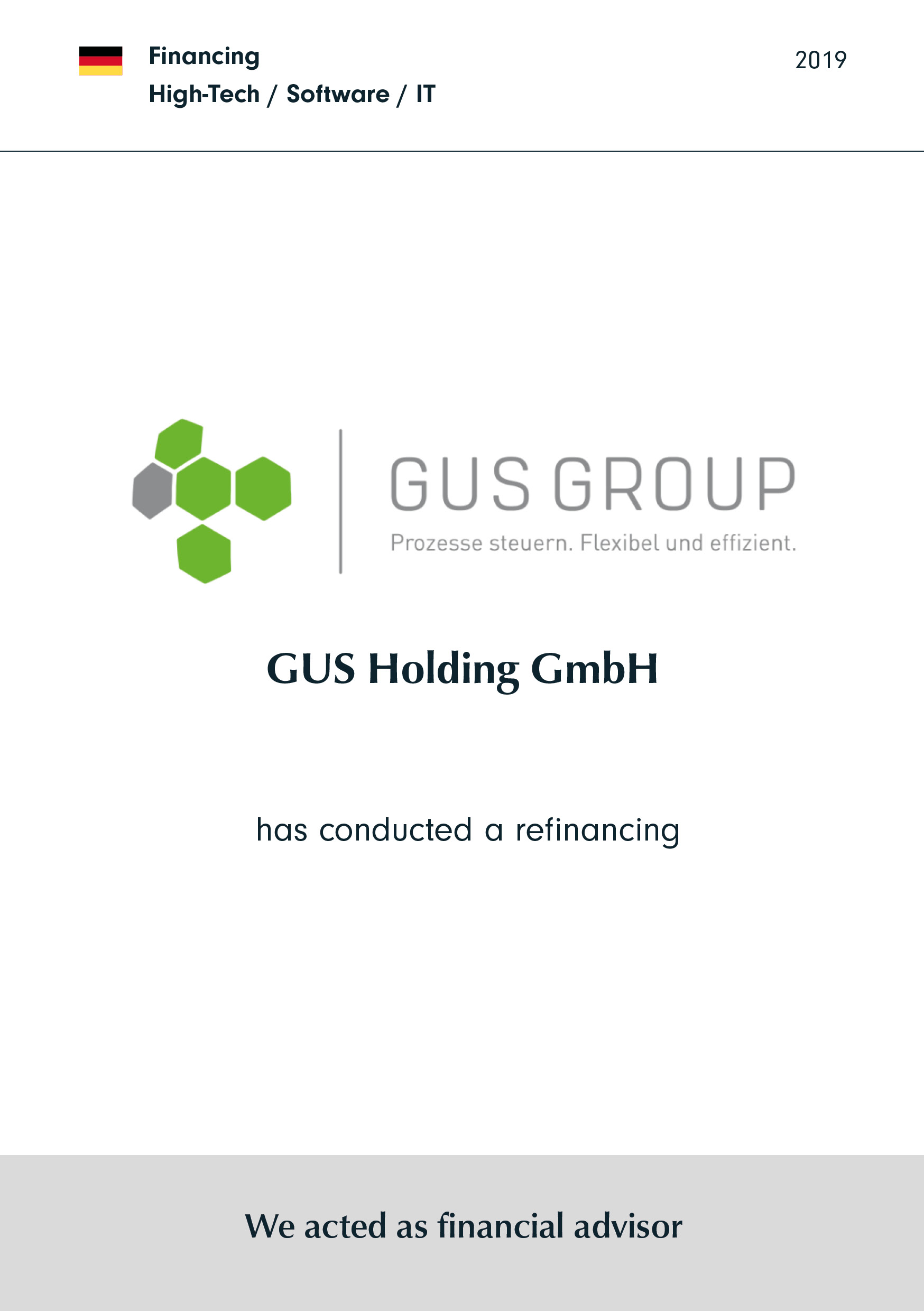 GUS Holding GmbH | has conducted a refinancing