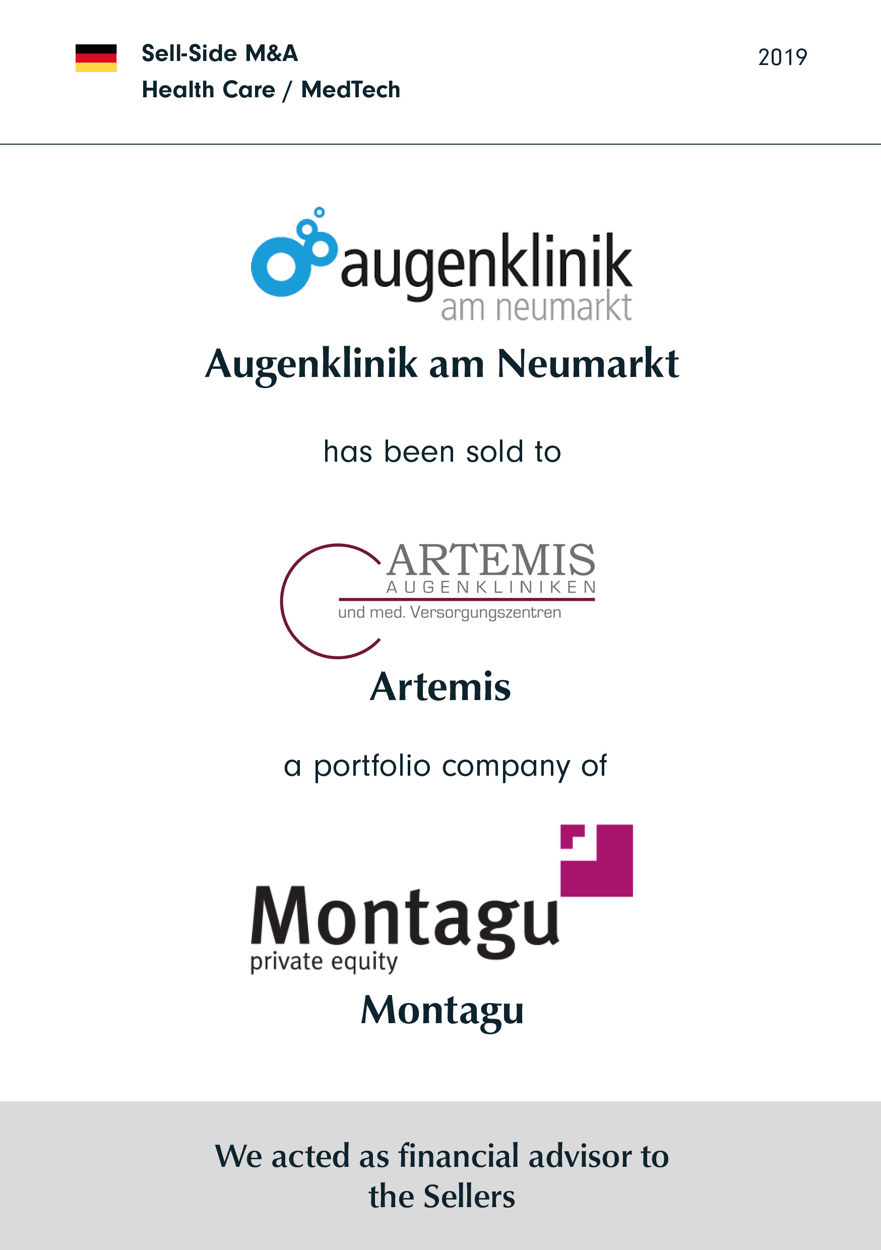 Augenklinik am Neumarkt | has been sold to | ARTEMIS | a portfolio company of | MONTAGU