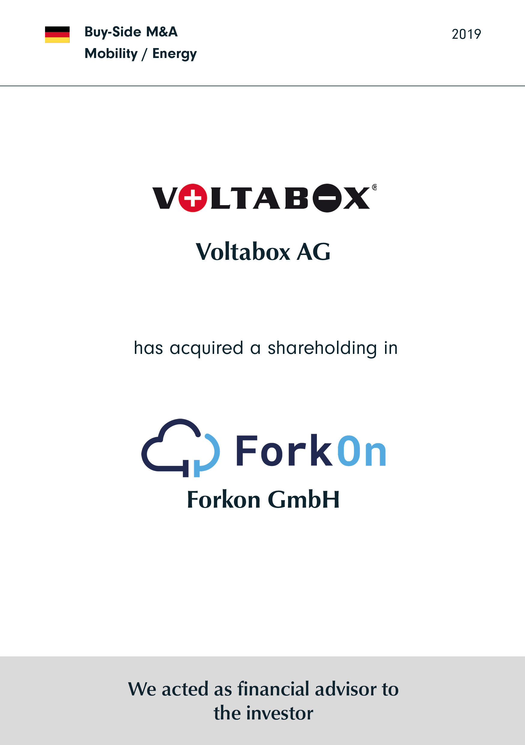 Voltabox | has acquired a shareholding in | ForkOn