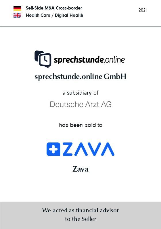 BELGRAVIA & CO. advised Deutsche Arzt AG on the sale of sprechstunde.online GmbH to Zava