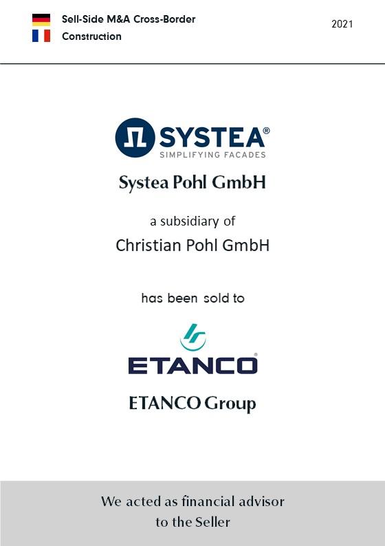 BELGRAVIA & CO. berät Christian Pohl GmbH bei der Veräußerung ihrer Tochtergesellschaft Systea Pohl GmbH an die französische ETANCO-Gruppe