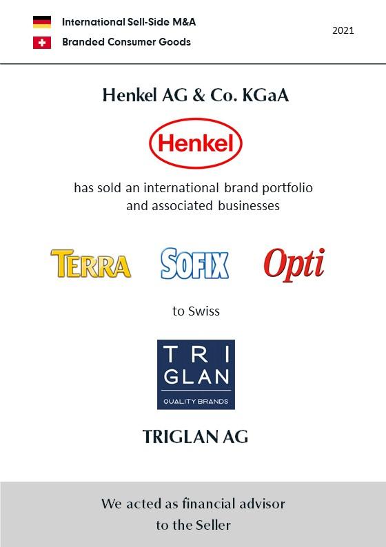 BELGRAVIA & CO. advised Henkel AG & Co. KGaA on the divestment of an international floor and furniture care brand portfolio (TERRA, SOFIX, Opti) to Swiss TRIGLAN AG