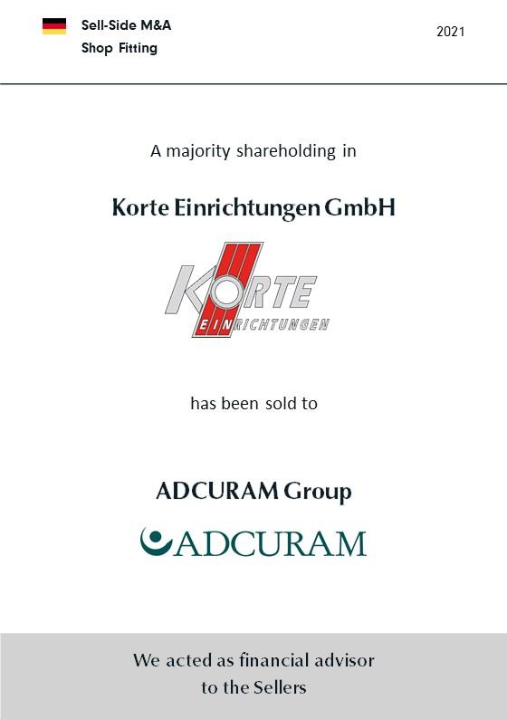 Korte Einrichtungen GmbH als deutscher Marktführer für Ladenbau bei Filial-Bäckereien im Rahmen einer Nachfolgelösung mehrheitlich an ADCURAM verkauft